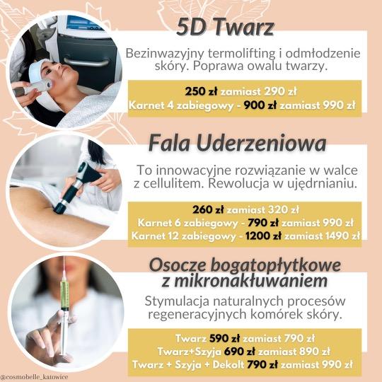 Termolifting 5d, fala uderzeniowa oraz osocze bogatopłytkowe z mikronakłuwaniem, Katowice.